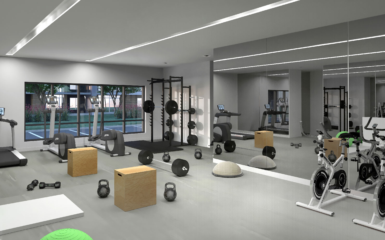 private gym inside west-island luxury condos aviva
